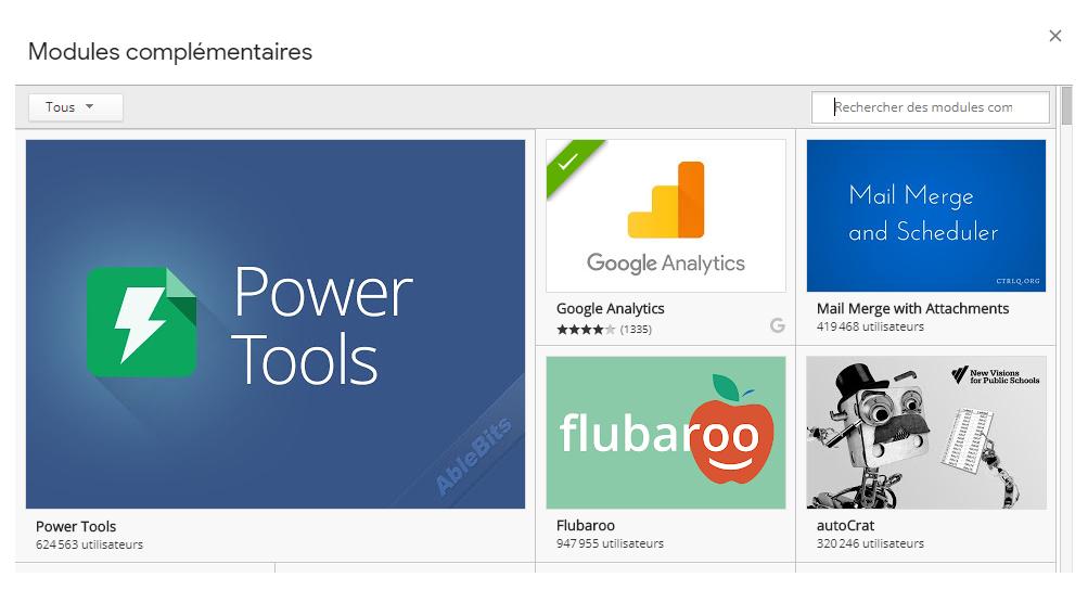 Le module Google Analytics pour Google Sheet